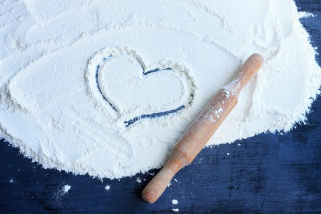 a heart drawn in flour