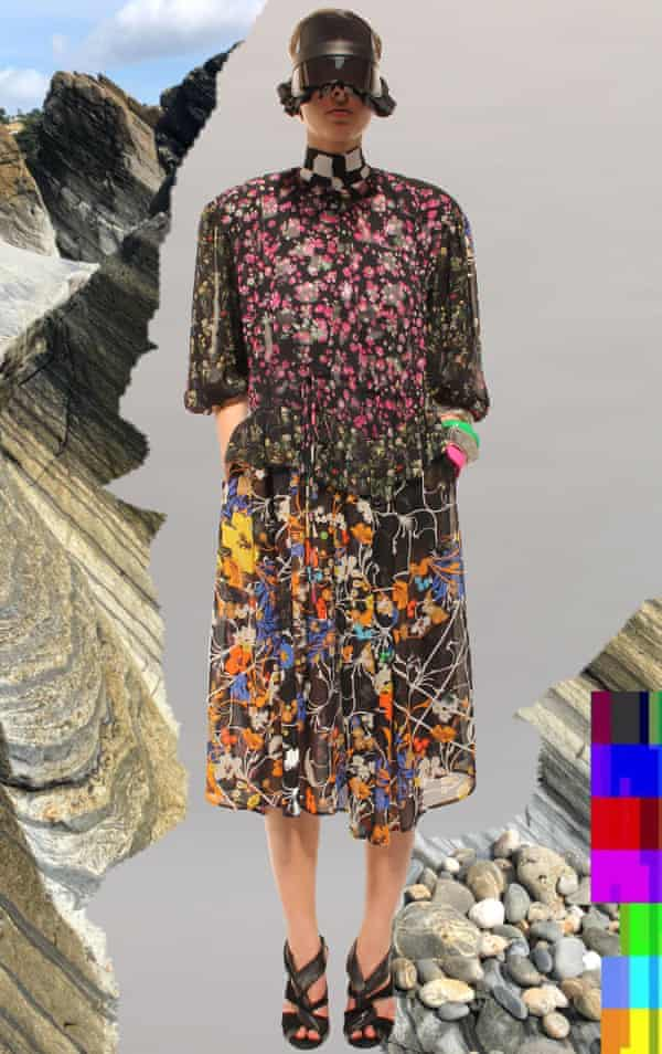 A dress made of mixed leftover fabrics designed by Justin Thornton and Thea Bregazzi for Preen by Thornton Bregazzi, presented at London fashion week.