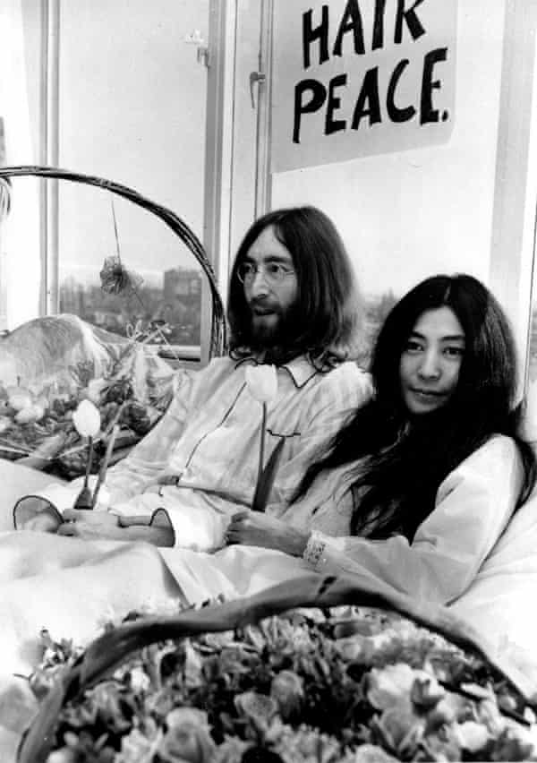 John Lennon and Yoko Ono protest at the Hilton Hotel in Amsterdam in March 1969.