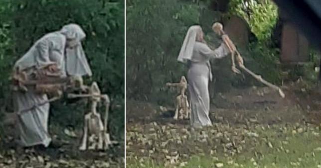 nun with skeleton