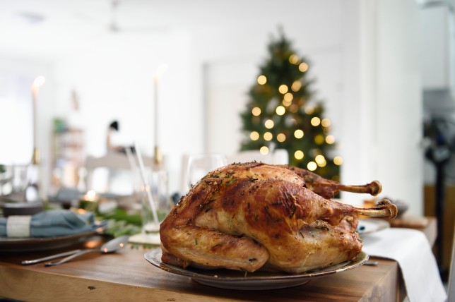 Roast turkey on a Christmas table