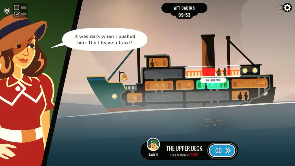 A screenshot of the video game Overboard!, showing a split screen with the murderer on one side and a ship on the other.