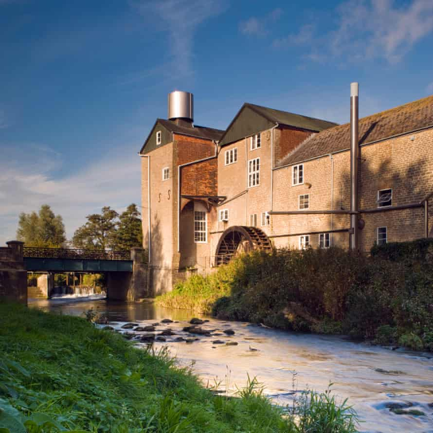 The Historical Palmers Brewery next to the river Brit in Bridport, Dorset, England, UK