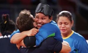Jessica Gomes of Brazil celebrates.