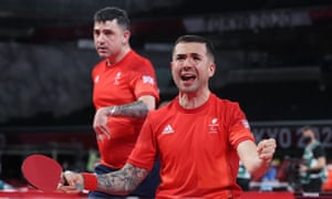 Paul Karabardak (left) and Will Bayley during their table tennis doubles match against Spain.