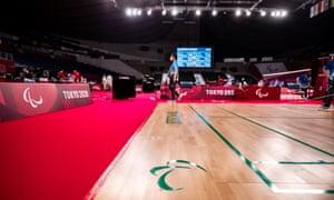 The badminton court is prepared at Yoyogi National Stadium in Tokyo.