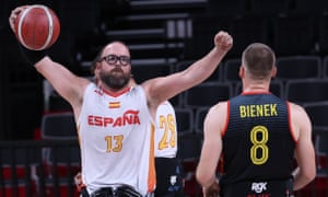 Asier García of Spain celebrates after clinching victory in the men's wheelchair basketball quarter-final against Germany.