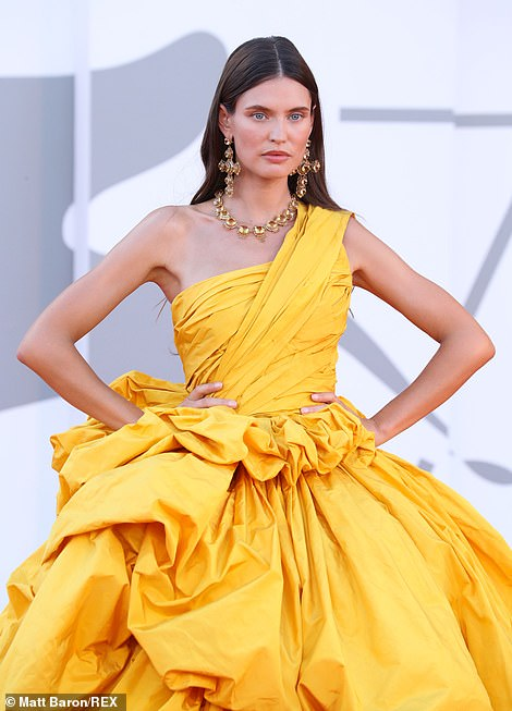 Mellow yellow: Italian model Bianca Balti certainly caught the eye in her showstopping yellow dress