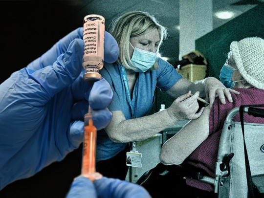 A composite picture showing the Covid-19 vaccine and a health worker administering it to a patient.