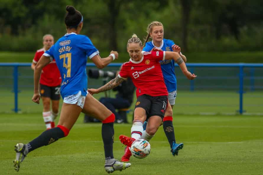 Leah Galton scores the final goal in Manchester United's 5-0 win against Rangers last month.