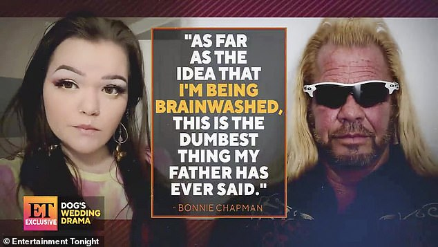 Not having it:Bonnie said in her own statement that her father's claims that she was 'being brainwashed' were bogus