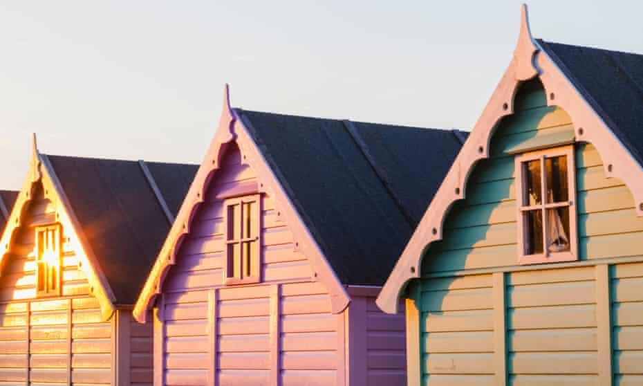 Beach huts on Mersea Island, Essex, UK.