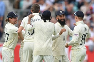 Vice-Captain Moeen Ali celebrates after catching Ajinkya Rahane off the bowling of Craig Overton.