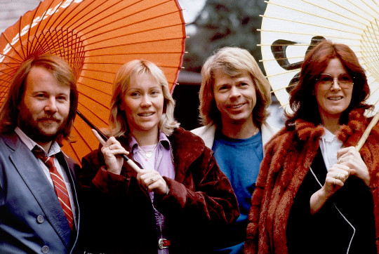 FILE - Members of the pop group ABBA, from left, Benny Andersson, Agnetha Foltskog, Bjorn Ulvaeus and Anni-Frid Lyngstad, appear in Tokyo on March 14, 1980. ABBA is releasing its first new music in four decades, along with a concert performance that will see the ???Dancing Queen??? quartet going entirely digital. The forthcoming album ???Voyage,
