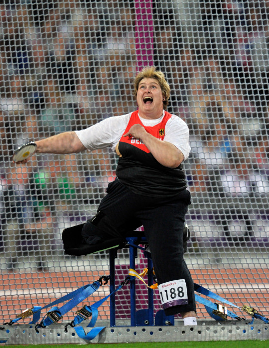 Germany's Ilke Wyludda competes in the Women's Discus Throw