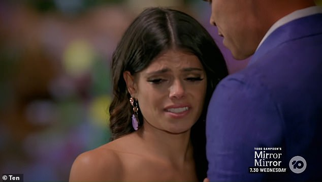 Over:During Thursday night's finale of The Bachelor Brooke (pictured) broke down in tears as Jimmy told her the heartbreaking news she was dumped, before choosing Holly as the winner