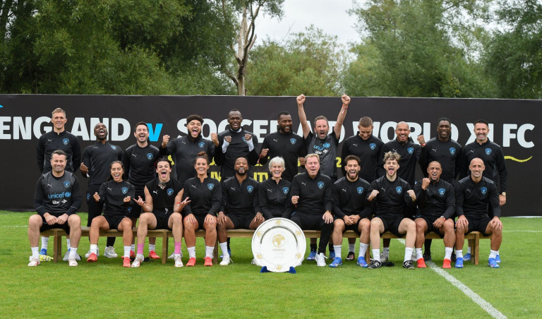 Mandatory Credit: Photo by REX/Shutterstock (12410333q) Back Row Left to Right - Darren Fletcher, Ore Oduba, Martin Compston, Big Zuu, Usain Bolt, Wes Morgan, Lee Mack, Dermot Kennedy, Nigel De Jong, Clarence Seedorf and Robbie Keane Front Row Left to Right - Shay Given, Chelcee Grimes, Yungblud, Julie Fleeting, Patrice Evra, Judy Murray, Harry Redknapp, Kem Cetinay. Tom Grennan, Roberto Carlos and Pablo Zabaleta World XI team photo taken during a training session Soccer Aid for UNICEF 2021 Training session, Day 3, Manchester, UK - 03 Sep 2021 Soccer Aid for UNICEF 2021 takes place on Saturday 4th September at the Etihad Stadium. The money raised from this year's game will help UNICEF fight back against the Covid-19 pandemic by helping to deliver 2 billion vaccines worldwide. Tickets are available at: socceraid.org.uk/tickets