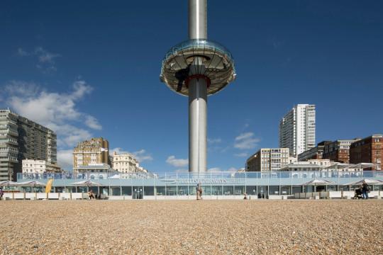 View from beach of i360. i360, Brighton, United Kingdom.
