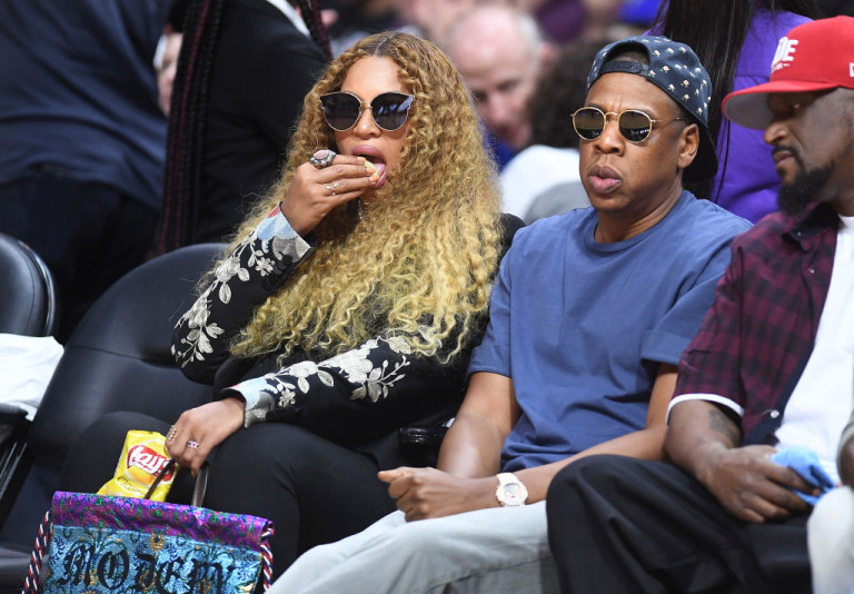 Beyonce and Jay Z at the Staples Center