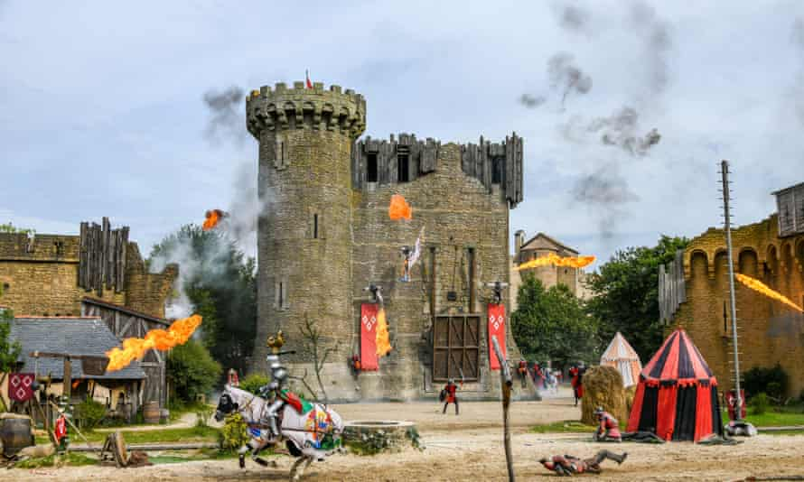Puy Du Fou, France. Knights in a mock battle at a castle