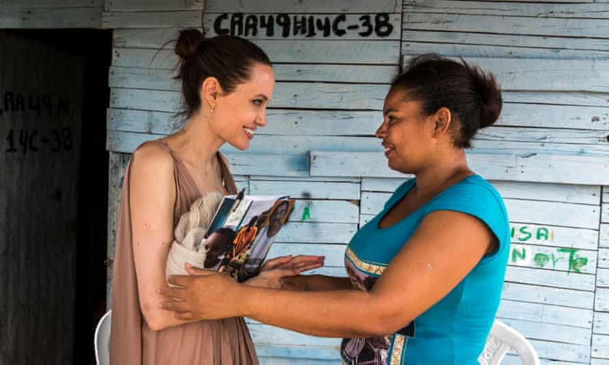 UNHCR Special Envoy Angelina Jolie speaks with former refugee Yoryanis Ojeda, 35, on June 7, 2019 in Riohacha, Colombia.