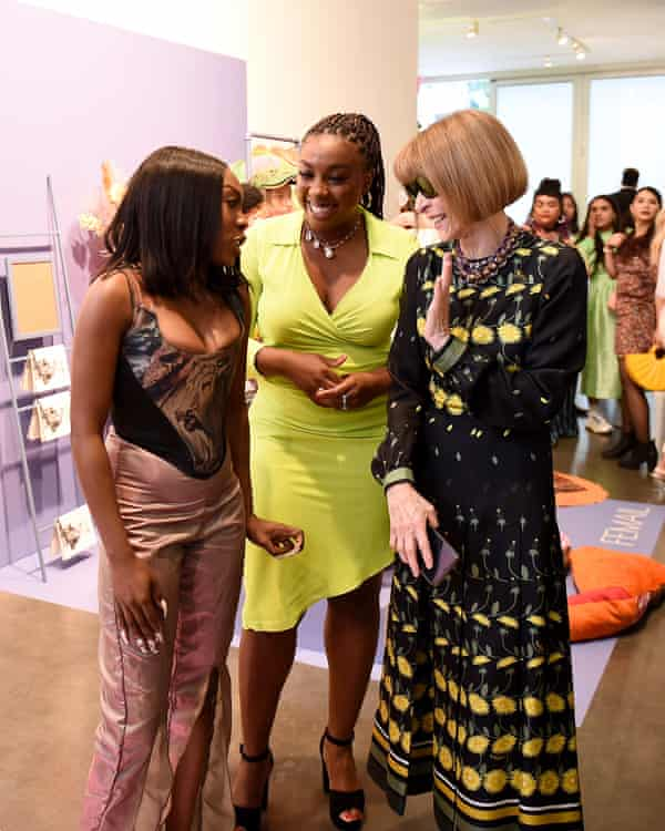 Designer Tia Adeola, left, Lindsay Peoples Wagner and Anna Wintour