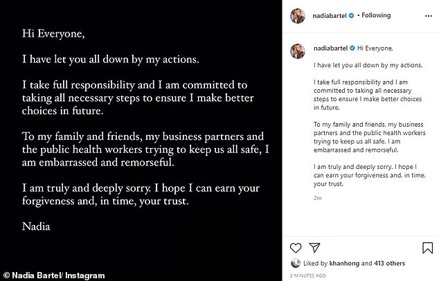 Breaking her silence in a post shared to Instagram on Friday afternoon, the 36-year-old mum of two wrote: 'Hi everyone, I have let you all down by my actions. I take full responsibility and I am committed to taking all necessary steps to ensure I make better choices in future'