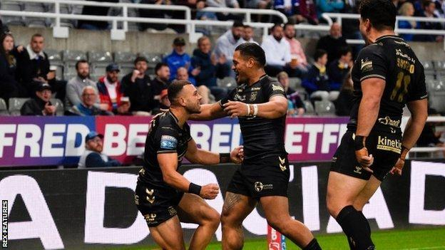 Carlos Tuimavave scored the second of Hull's three tries in Newcastle