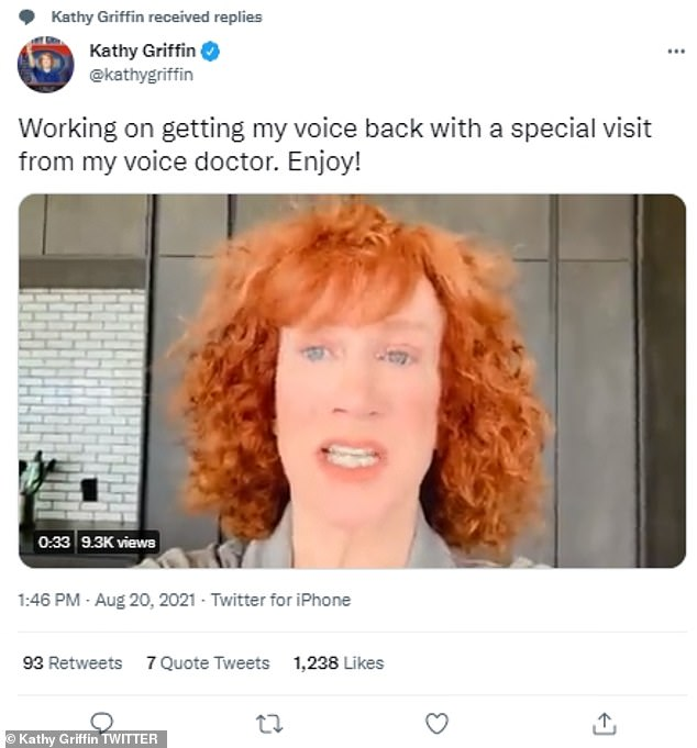 Funny:Kathy recently joked she had been working with her 'celebrity voice doctor' Sia to get her 'voice back'
