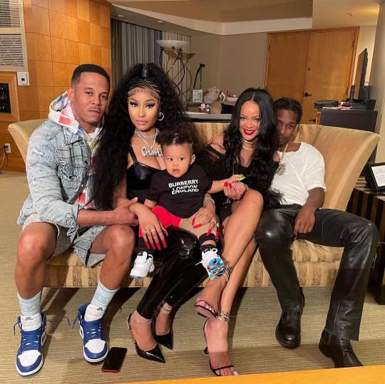 Kenneth Petty, Nicki Minaj, her son, Rihanna and ASAP Rocky, sat on a sofa