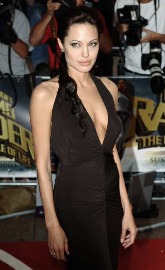 Angelina Jolie at the Tomb Raider premiere.