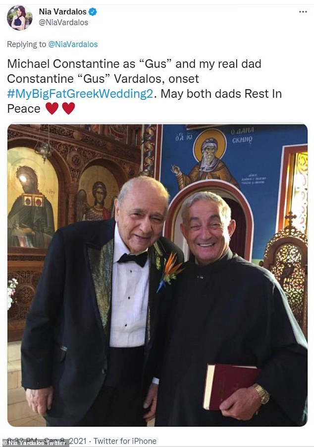 """Movie and real dad:She also shared a snap of, 'Michael Constantine as """"Gus"""" and my real dad Constantine """"Gus"""" Vardalos, onset #MyBigFatGreekWedding2. May both dads Rest In Peace'"""