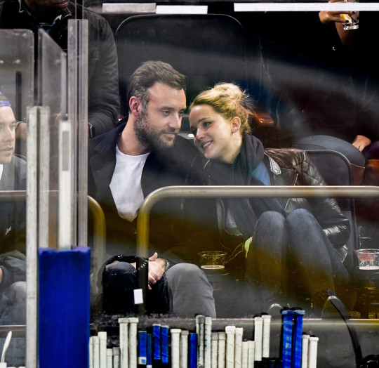 Cooke Maroney and Jennifer Lawrence at New York Rangers v Buffalo Sabres