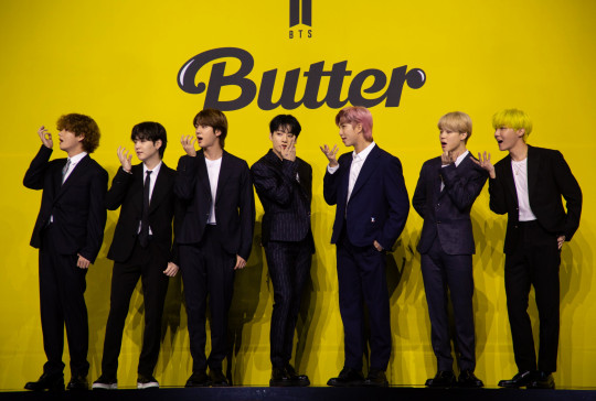 (L-R) V, Suga, Jin, Jung Kook, RM, Jimin and J-hope members of South Korean boy band Bangtan Boys (BTS), pose as they arrive for their new digital single album 'Butter' launch at Olympic hall on Olympic park in Seoul, South Korea, 21 May 2021. EPA/JEON HEON-KYUN