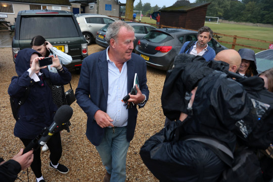 Jeremy Clarkson arrives at the town hall meeting