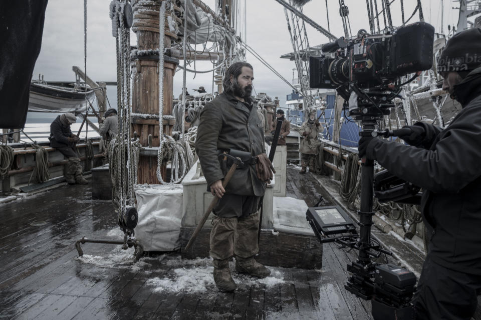 WARNING: Embargoed for publication until 00:00:01 on 31/08/2021 - Programme Name: The North Water - TX: n/a - Episode: n/a (No. 1) - Picture Shows: *Behind the scenes*  Henry Drax (COLIN FARRELL) - (C) See-Saw Films - Photographer: Nick Wall