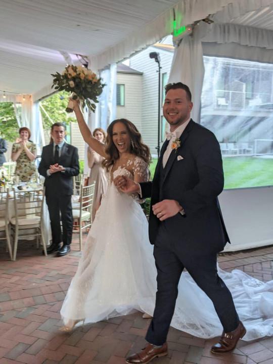 Diana Gonzalez 36, and Nicholas Edward Donatelli 27, on their wedding day
