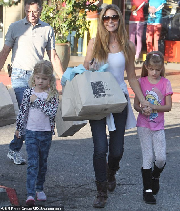 The little ones: Richards and her daughters Sam and Lola Rose in Bel Air, Los Angeles in 2012