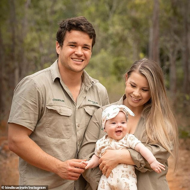 Sweet: Bindi appreciated the sweet post and replied back, 'Love you babe. Forever and forever.' The young couple are proud parents to Grace Warrior who they welcomed back in March