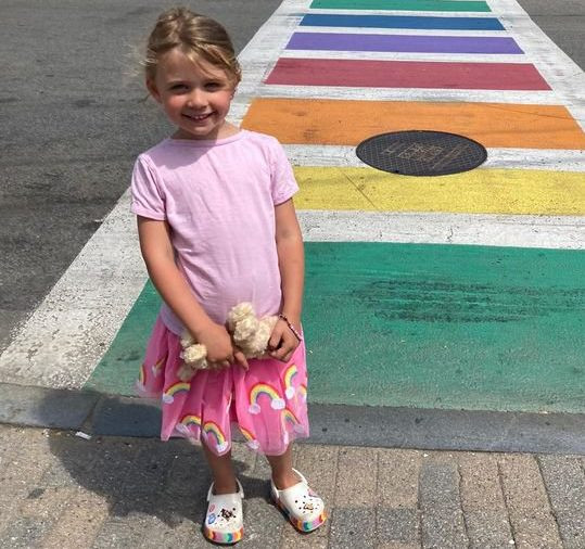 Elodie in a pink skirt and a pink top. A little girl, from Mordon, South London, had her ear mauled off by a coyote at North Herring Cove Beach near Provincetown, Massachusetts.