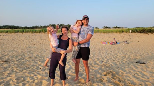 Left to right: Elodie, Megan, Elodie's older sister and Michael taken just minutes before the attack. A little girl, from Mordon, South London, had her ear mauled off by a coyote at North Herring Cove Beach near Provincetown, Massachusetts.