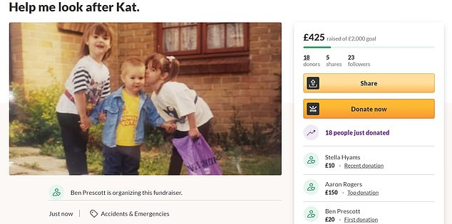 Helping out: A Gofundme has been started to raise £2,000 to get their brother Ben a plane to Canada, where he can visit Kathryn after quarantining 14 days