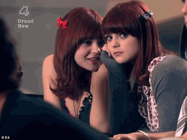 Sister act: Megan and twin Kathryn appeared on Skins as Katie and Emily Fitch, with Megan leaving the show in 2010 (pictured)