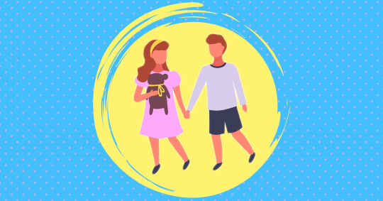 two kids playing in yellow circle, blue background