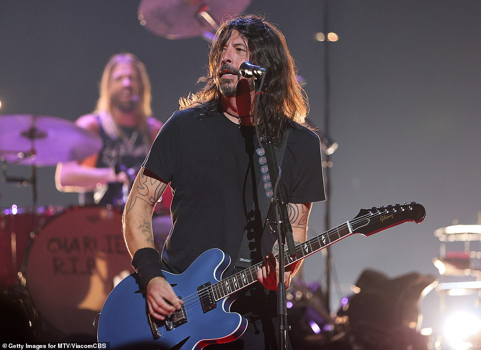 On stage: Dave Grohl takes the stage at the VMAs