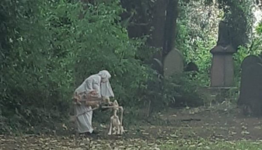 The 'nun' also appeared to have a skeleton dog for company outside Hull General Cemetery