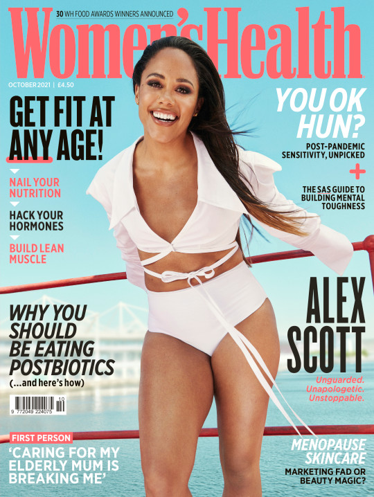 Alex Scott on the front cover of Women's Health October 2021 issue