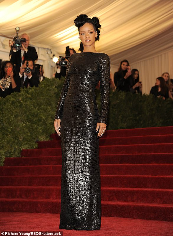 2012:Rihanna climbed the museum's iconic staircase in a textured curve-clinging gown designed by Tom Ford