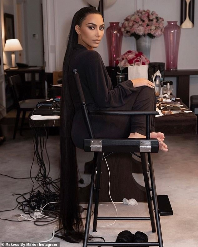 Getting all dolled up:Kardashian posed for photos while undergoing glam