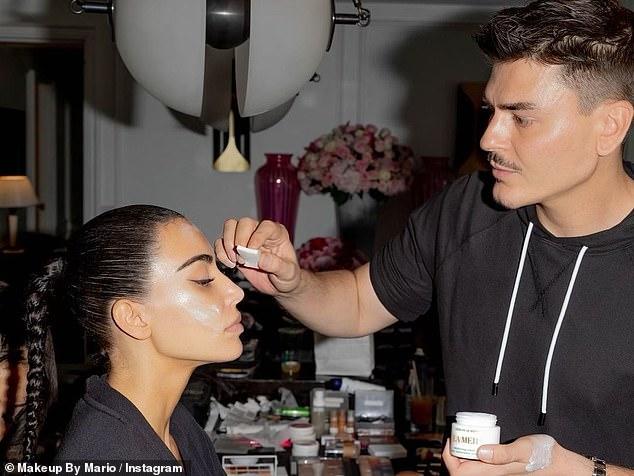 Beauty: Her makeup artistMario Dedivanovic posted photos of himself doing her makeup